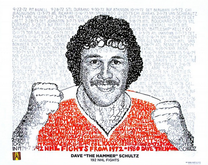 "Philadelphia Flyers Dave ""The Hammer"" Schultz 192 NHL Fights Print by Philly Word Art"