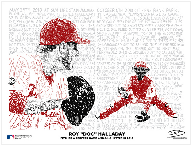Phillies Doc Halladay No Hitters Print by Philly Word Art