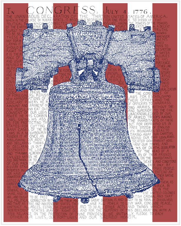 Liberty Bell Declaration of Independence Print by Philly Word Art