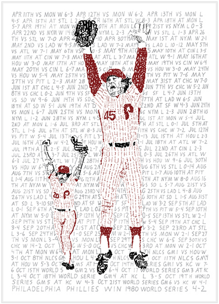 Phillies Road to the 1980 World Series Print by Philly Word Art