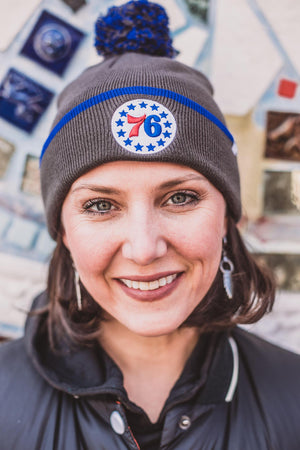 Philadelphia 76ers Baraka Charcoal Cuffed Knit Hat with Pom