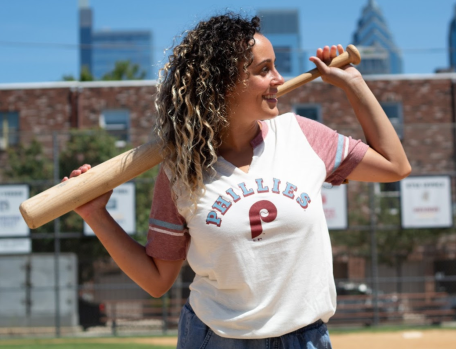 Phillies Women's Cooperstown White Mash Match tee