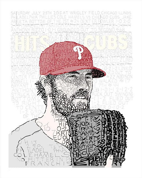 Cole Hamels No HItter Print by Philly Word Art