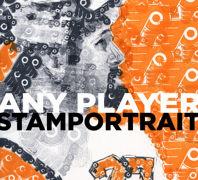 Philadelphia Flyers Ron Hextall Stamp Portrait by Philly Word Art