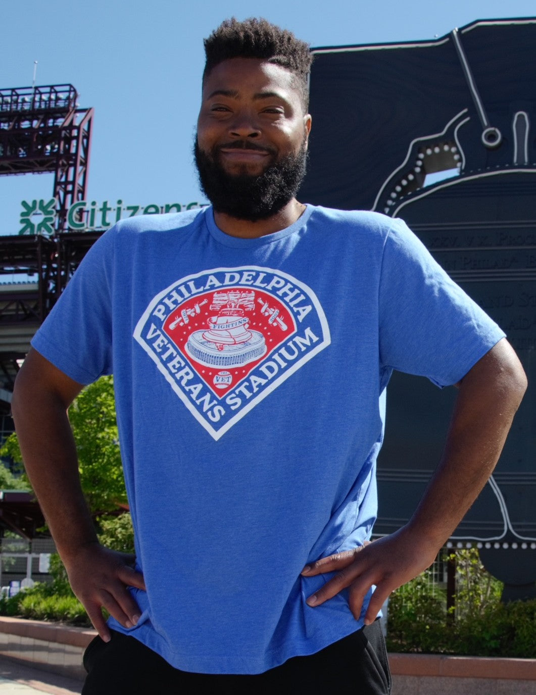 Veterans Stadium Philadelphia Baseball Royal Blue Shirt