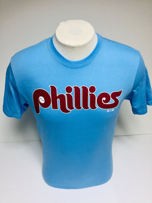 Phillies Men's Wordmark Super Rival carolina blue t-shirt