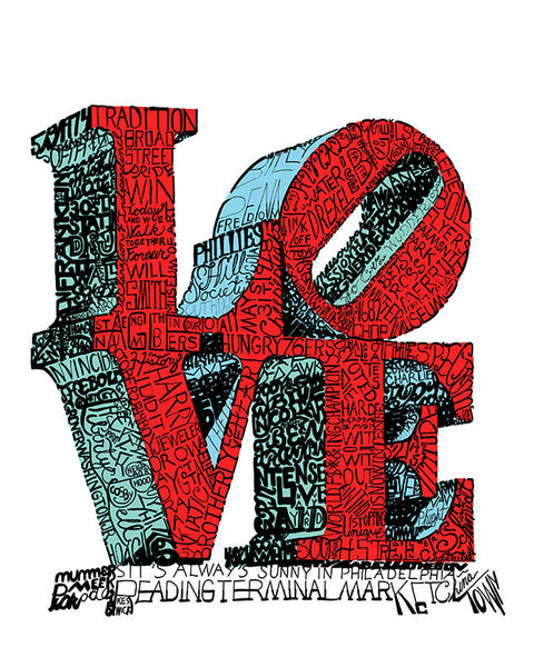 Love Park Print by Philly Word Art