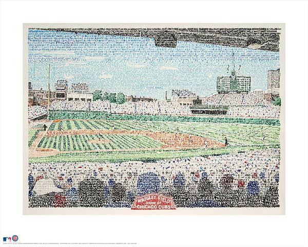 "Wrigley Field - ""All Time Cubs Roster"" by Philly Word Art"