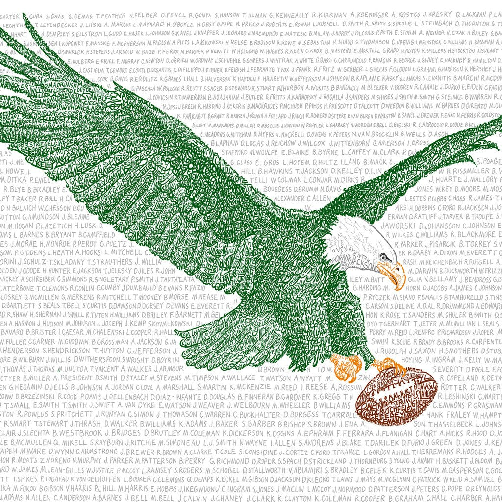 Philadelphia Eagles All-Time Roster Print by Philly Word Art