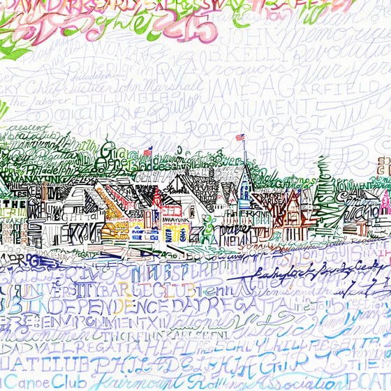 Boathouse Row Print by Philly Word Art