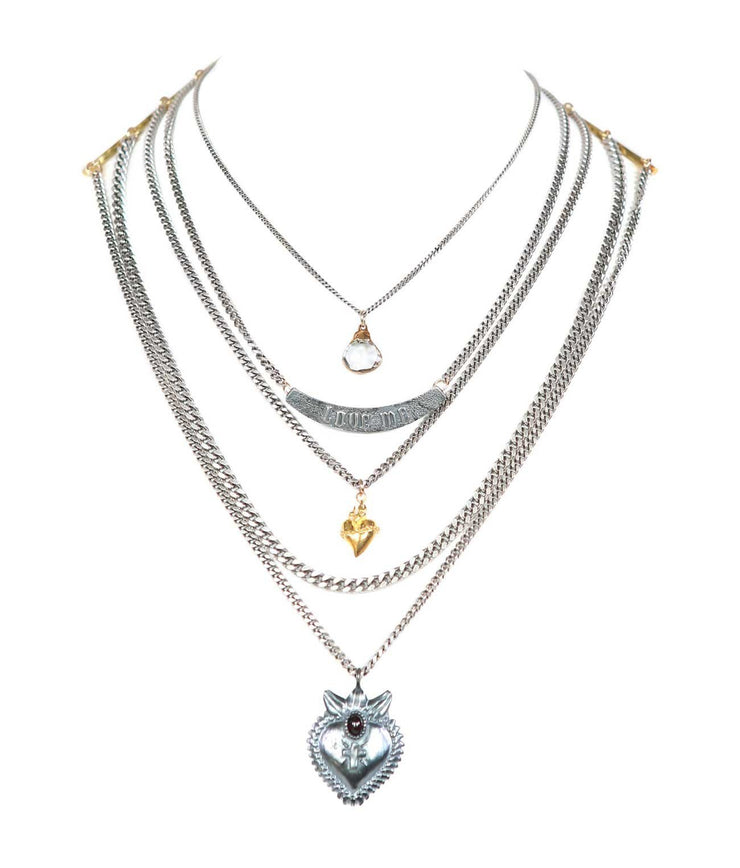 5 layer protection necklace drop-loveme-sacred heart 3d-sacred plain - Laura Cantu Jewelry - Mx