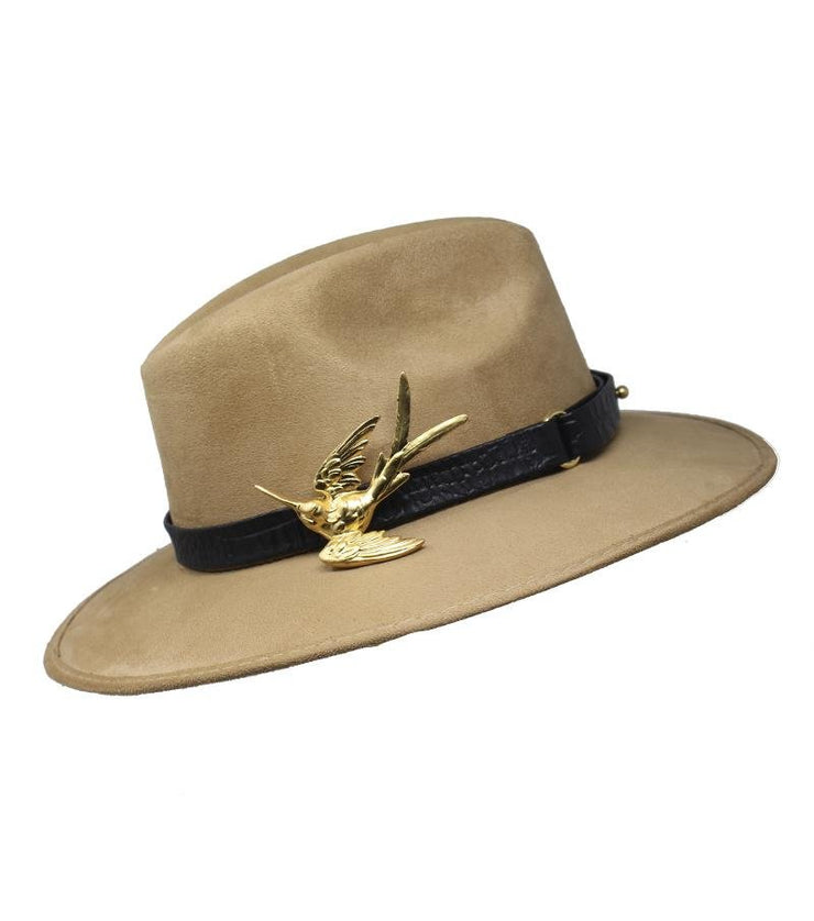 Beige Suede Hat with Hummingbird Buckle - Laura Cantu Jewelry - Mx