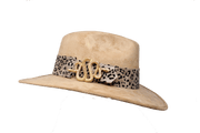 Beige Suede Hat with Snake Buckle - LAURA CANTU JEWELRY