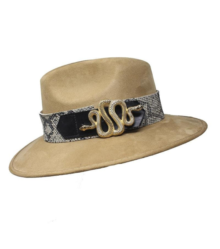 Beige Suede Hat with Snake Buckle - Laura Cantu Jewelry - Mx