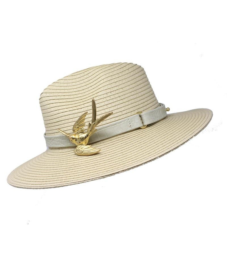 Beige Summer Hat with Hummingbird Buckle - Laura Cantu Jewelry - Mx