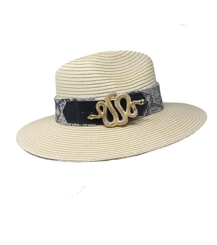 Beige Summer Hat with Snake Buckle - Laura Cantu Jewelry - Mx