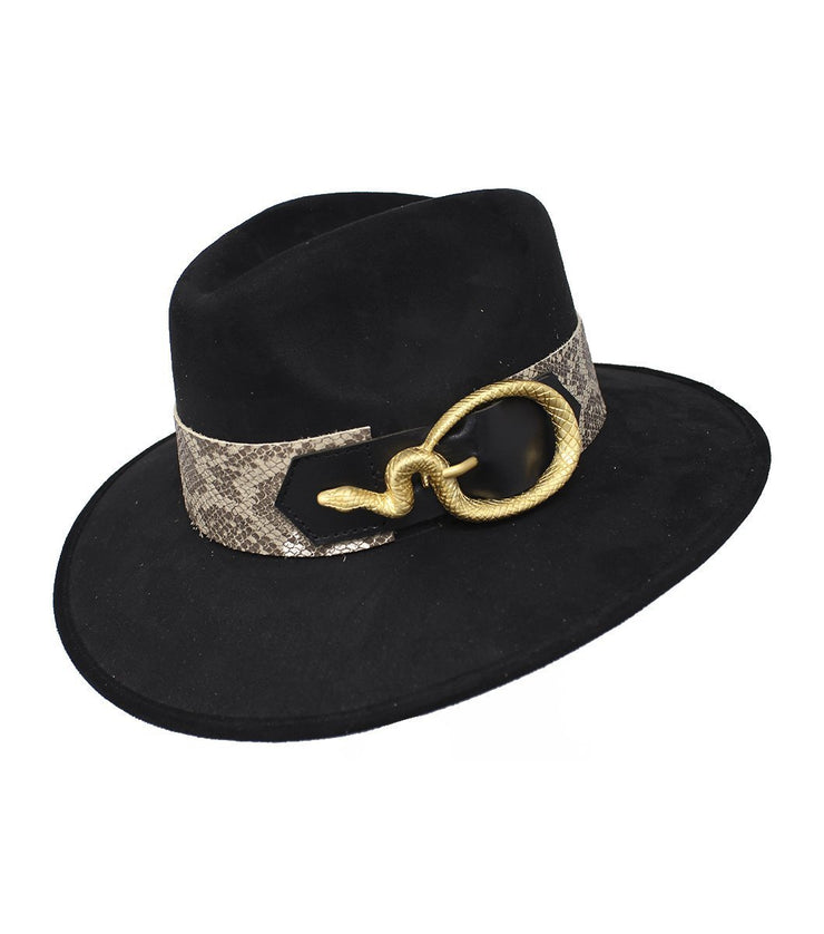 Black suede hat - Laura Cantu Jewelry - Mx
