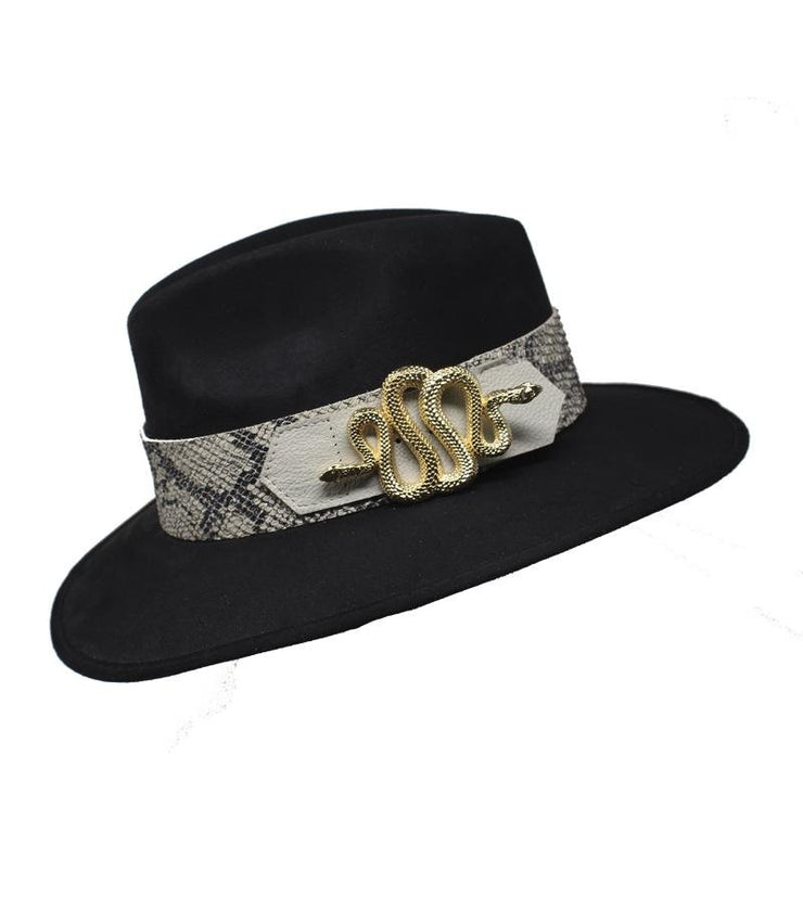 Black Suede Hat with Snake Buckle - Laura Cantu Jewelry - Mx
