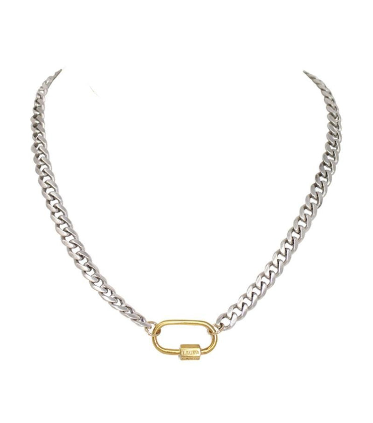 Bold necklace with lock - Laura Cantu Jewelry - Mx
