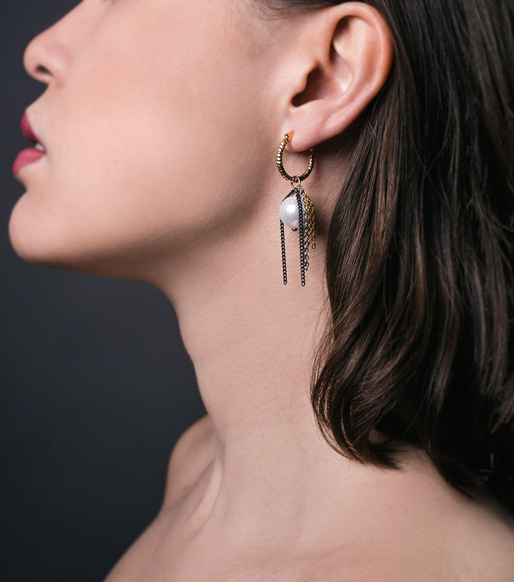 Catalina earrings - white - Laura Cantu Jewelry - Mx