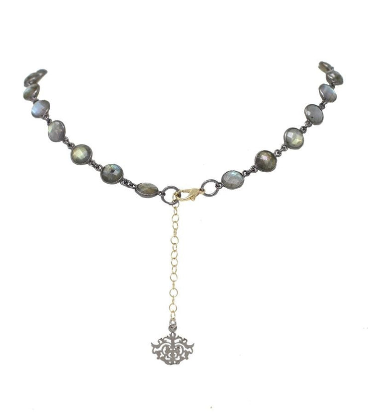 Circle Labradorite choker with lock - Laura Cantu Jewelry - Mx