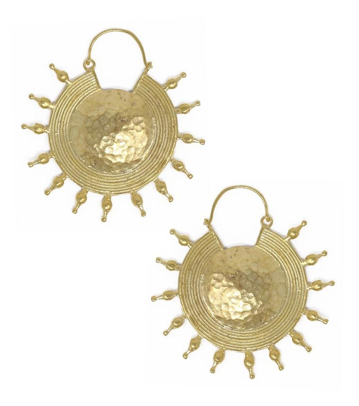 Gold disc earrings with spikes - Laura Cantu Jewelry - Mx