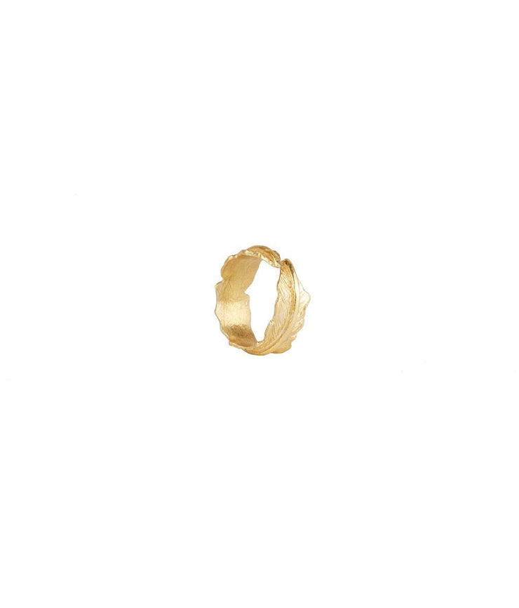 Gold Plated Silver Single Leaf Ring - Laura Cantu Jewelry - Mx
