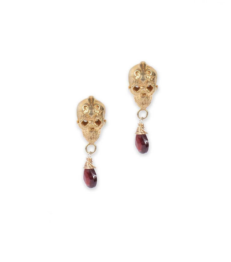 Gold Plated Skull Studs With Garnet Teardrop - Laura Cantu Jewelry - Mx