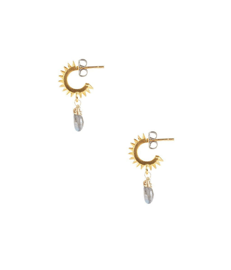 Gold Plated Spike Hoops With Labradorite Teardrop - Laura Cantu Jewelry - Mx