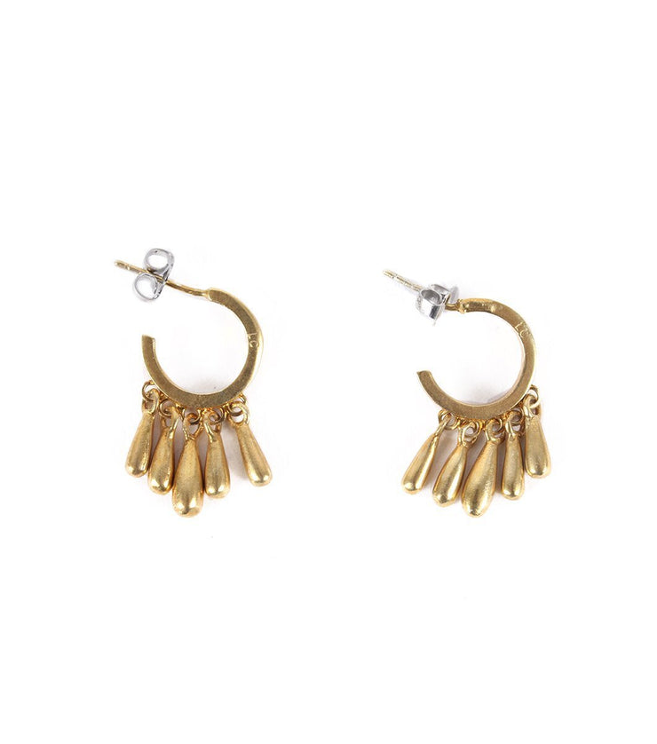 Goldplated hoops with drops - Laura Cantu Jewelry - Mx