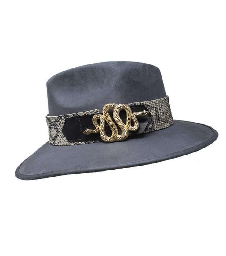 Grey Suede Hat with Snake Buckle - Laura Cantu Jewelry - Mx