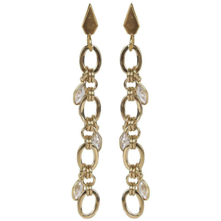 Link chain earrings with hanging crystals - Laura Cantu Jewelry - Mx