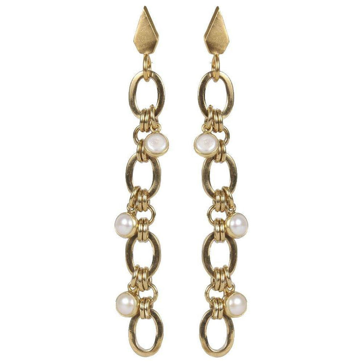 Link chain earrings with hanging pearls - Laura Cantu Jewelry - Mx