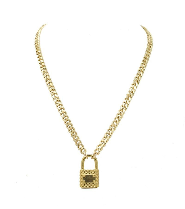 Lock Necklace Gold Finish - Laura Cantu Jewelry - Mx