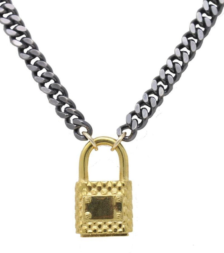 Lock Necklace Silver Finish - Laura Cantu Jewelry - Mx