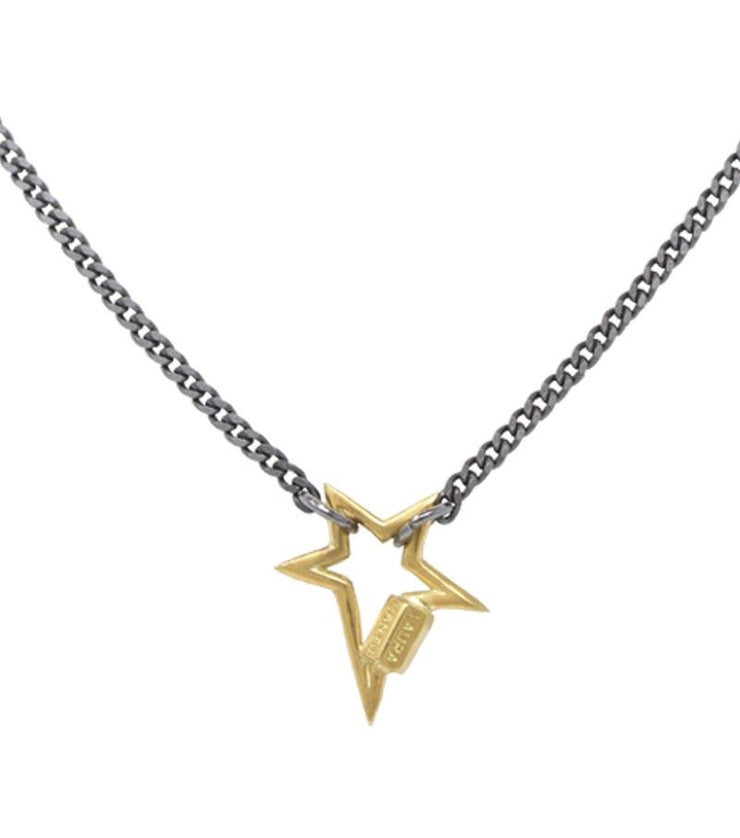 Necklace with mini star lock antiqued silver finish - Laura Cantu Jewelry - Mx
