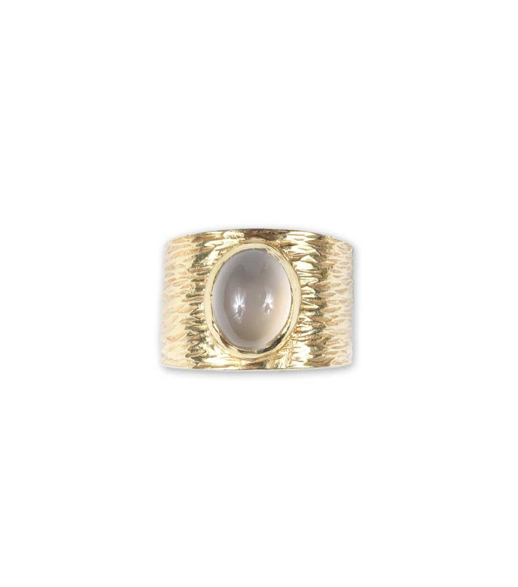 Oval rhinestone texturized ring - moonstone - Laura Cantu Jewelry - Mx