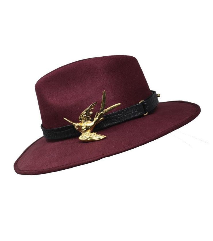 Red Suede Hat with Hummingbird Buckle - Laura Cantu Jewelry - Mx
