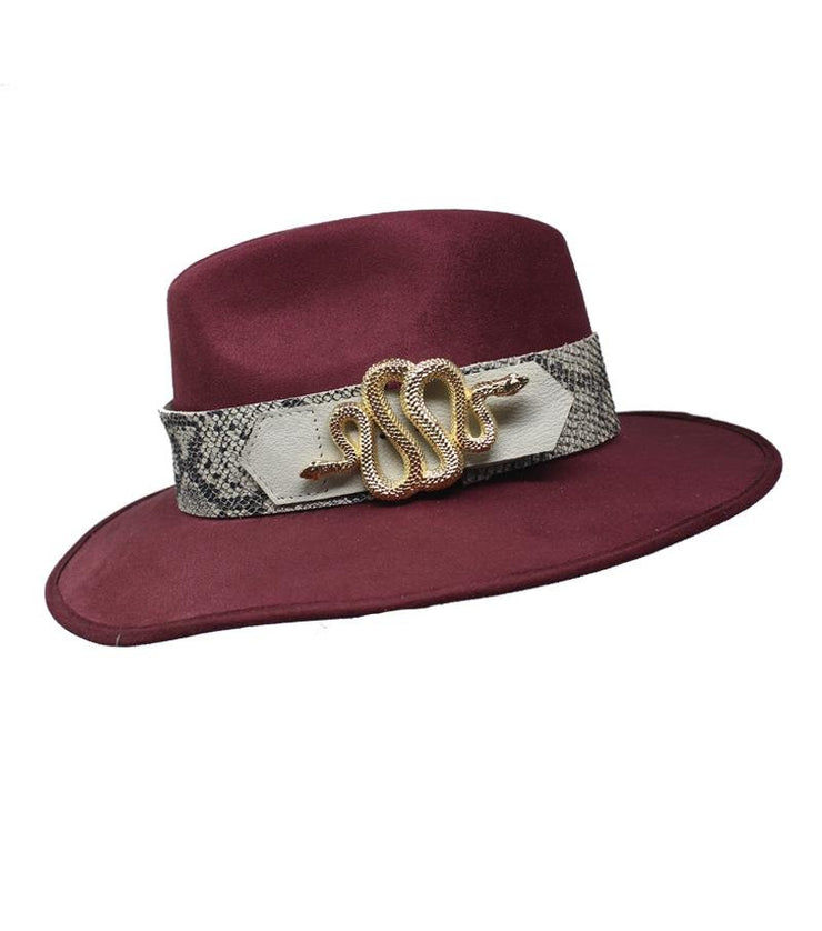 Red Suede Hat with Snake Buckle - Laura Cantu Jewelry - Mx