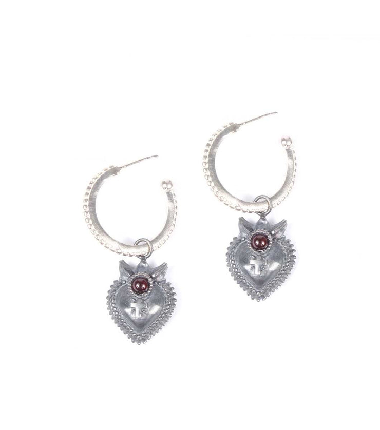 Sacred Heart Silver Hoops - Laura Cantu Jewelry - Mx