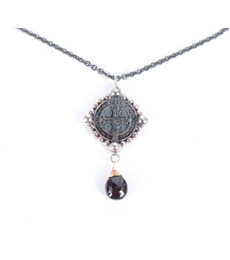 San Benito antique necklace with teardrop - Laura Cantu Jewelry - Mx