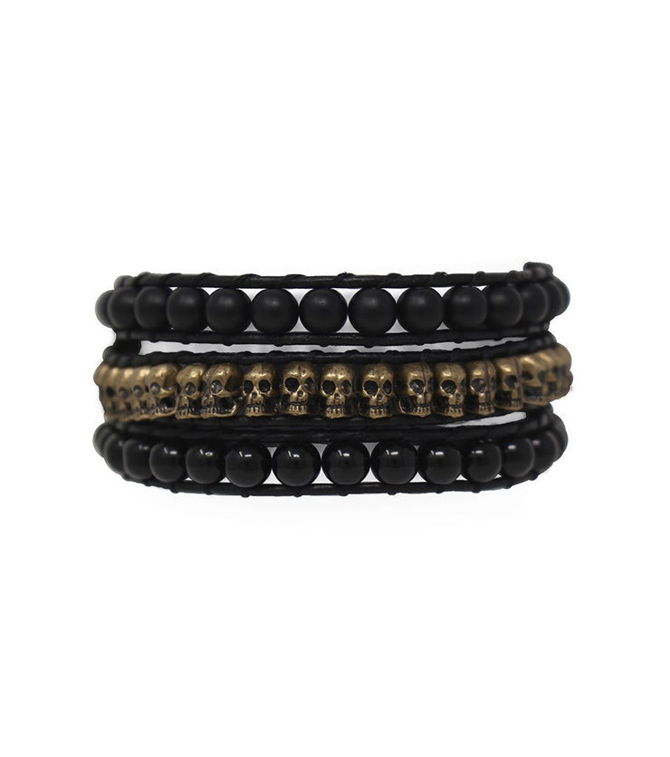 SantOsaint wraparound onyx and skulls bracelet - Laura Cantu Jewelry - Mx