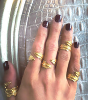 Set of 4 Gold Plated Silver Mid Finger Leaf Rings - Laura Cantu Jewelry - Mx