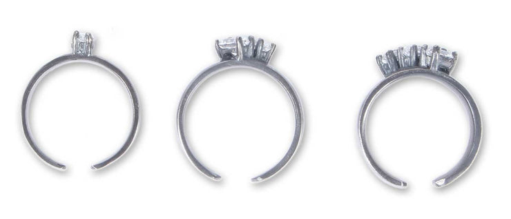 Set of Three marquis swarovski crystal silver rings - Laura Cantu Jewelry - Mx