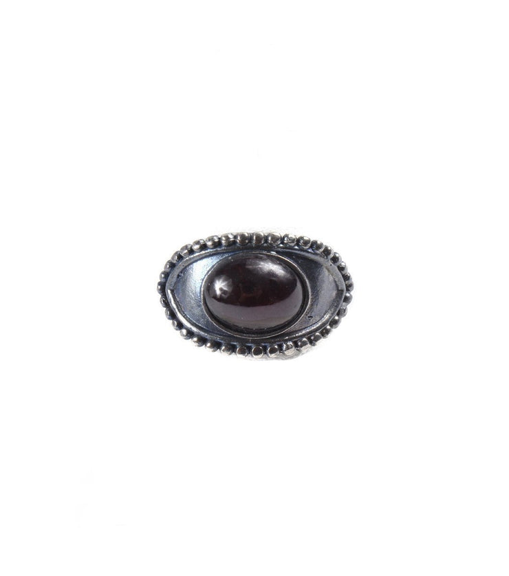 Silver eye with garnet ring - Laura Cantu Jewelry - Mx
