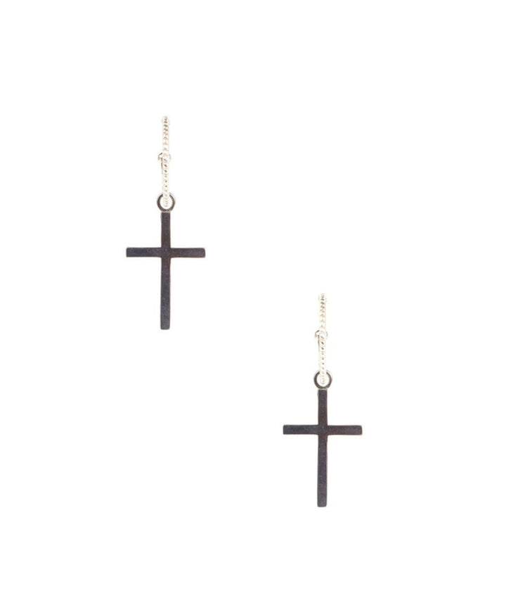 Silver Flat Cross Earrings - Laura Cantu Jewelry - Mx