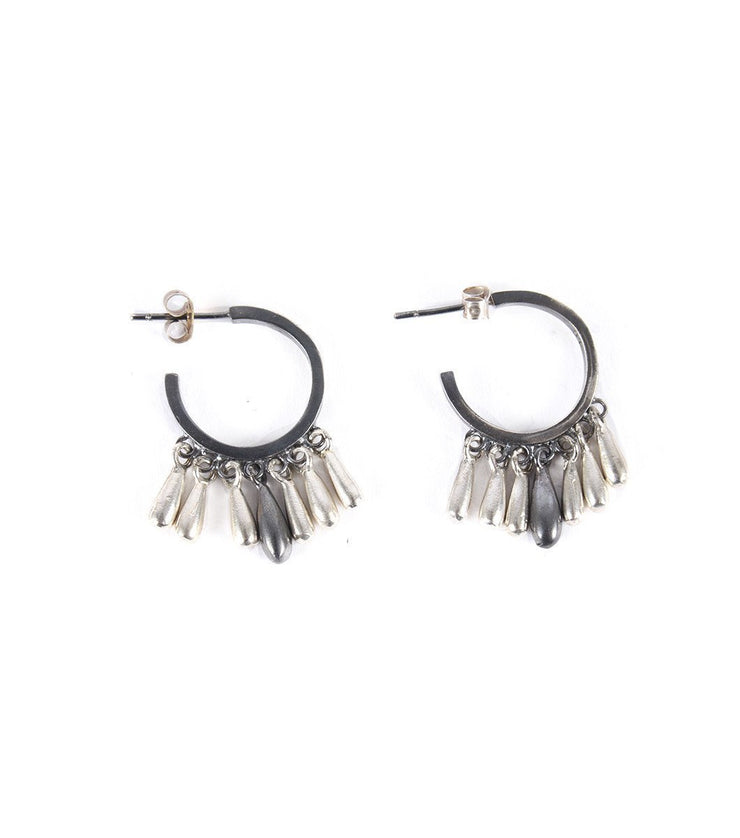 Silver hoops with drops - Laura Cantu Jewelry - Mx