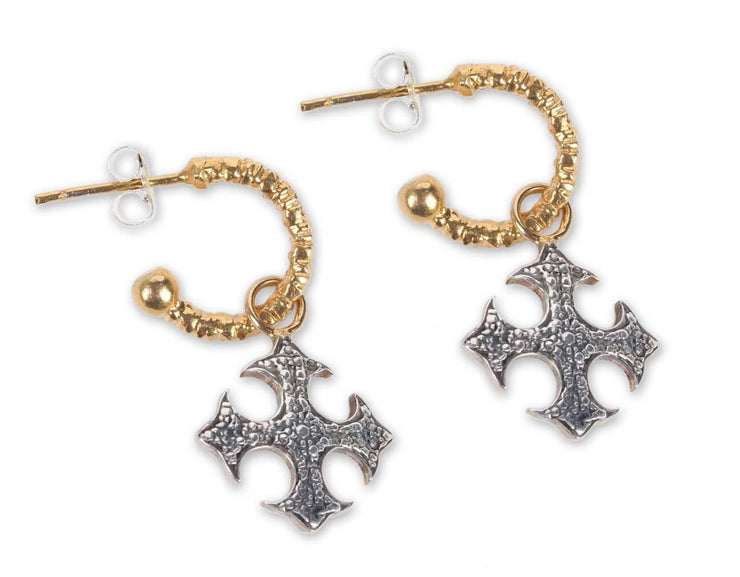 Silverplated thick cross and golplated hoops - Laura Cantu Jewelry - Mx