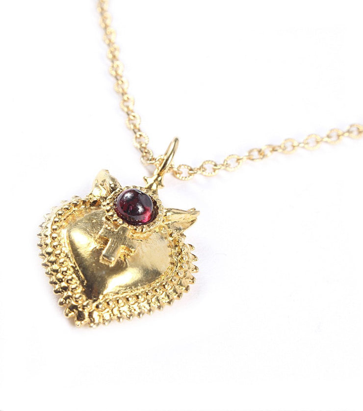 Small Goldplated Sacred Heart Necklace - Laura Cantu Jewelry - Mx