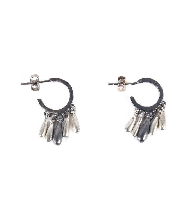 Small Silver hoops with drops - Laura Cantu Jewelry - Mx